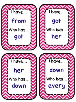 I have... Who has? Cards for First Grade High Frequency/Sight Words [5 Sets]