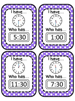 I have... Who has? Cards for Telling Time in Half Hour Intervals