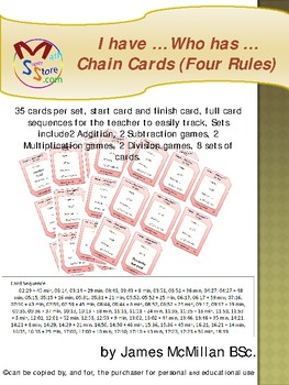 I have … Who has …    Chain Cards (Four Rules)