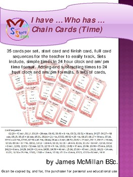 I have … Who has … Chain Cards (Time)