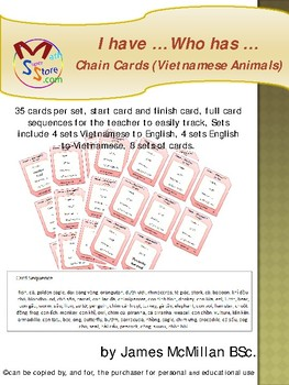 I have … Who has …  Chain Cards (Vietnamese Animals)