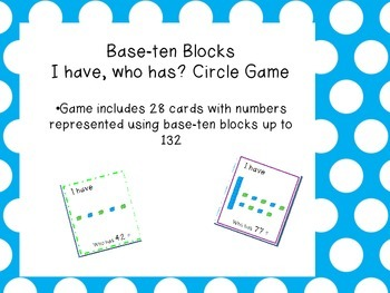 I have, Who has? Circle Game with Base ten blocks