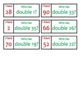 I have, Who has? Class Game Doubles