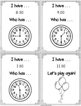 I have, Who has Clocks