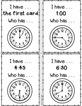 I have, Who has Clocks - Mixed Time
