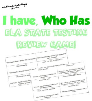 I have, Who has : ELA Milestone Review Game