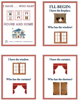 I have ... Who has? ESL - ELL house and home vocabulary activity
