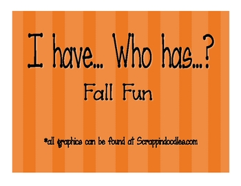 I have... Who has...? Fall Fun Numbers 1 - 5
