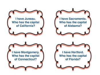 I have... Who has...? First 10 Alphabetical States and Capitals