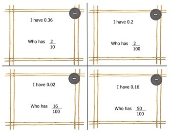 I have, Who has? Fractions and Decimals
