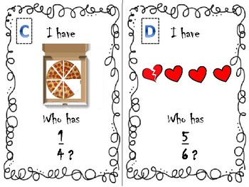 I have ... Who has ...? Game : FRACTIONS Edition