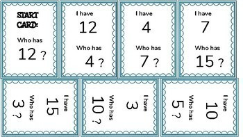 I have, Who has? Game for Number, Letter, Shape, and Sight Word Recognition