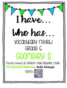 I have Who has Geometry Vocabulary