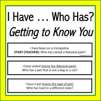 I have ... Who has? Getting to Know You