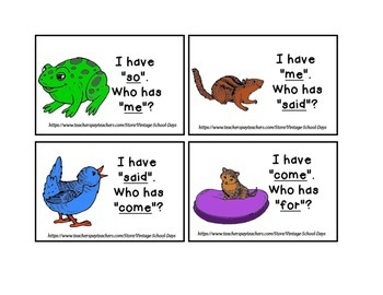 I have... Who has...? High Frequency Sight Words Game 1st Kindergarten RTI