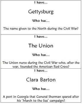 I have... Who has... History Ziparound - Civil War