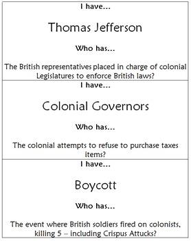 I have... Who has... History Ziparound - Revolutionary War