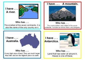 I have . . . Who has . . .  - Landforms, Continents, and Oceans