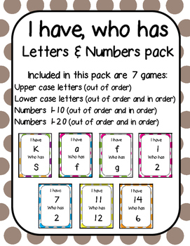 I have, Who has Letters and Numbers Pack