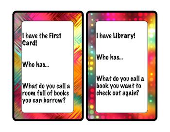 I have...Who has...Library Vocabulary