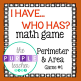 Perimeter and Area I Have Who Has Math Game #1