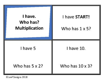 I have. Who has? Multiplication Facts (0-5) Game Cards