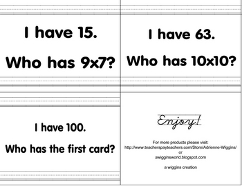 I have, Who has? Multiplication Facts (1-11) FUN!