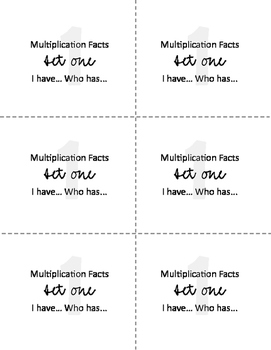 I have... Who has... Multiplication Facts - Set One