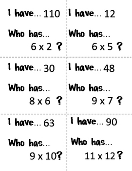 I have... Who has... Multiplication Facts - Set Three