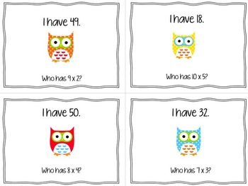 Multiplication Fact Game: I have… Who has?