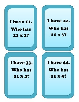 I have... Who has.. Multiplication Game - Facts of 11