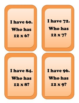 I have... Who has.. Multiplication Game - Facts of 12