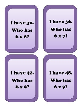 I have... Who has.. Multiplication Game - Facts of 6
