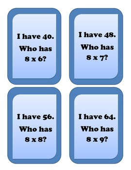 I have... Who has.. Multiplication Game - Facts of 8