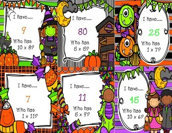 I have…Who has? Multiplication {Halloween Themed 1's, 5's, & 10's}