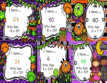 I have…Who has? Multiplication {Halloween Themed 2's, 4's, & 8's}