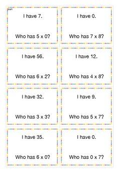 I have - Who has - Multiplication - Polka dot border