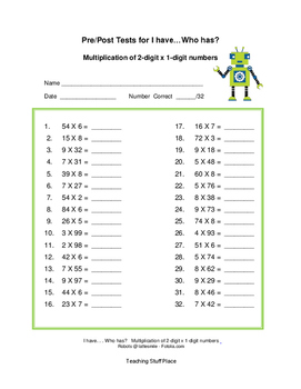 I HAVE...WHO HAS?  Multiply 2-digits x 1-digit    Math Game     Gr. 3-4 CORE