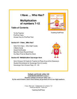 I have, Who has? Multiplication Numbers 7-12 | MATH Task Cards|Review Gr 3 CORE