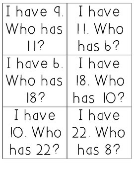 I have... Who has...? Number Identification 1-25