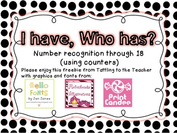 I have, Who has? Number Recognition to 18