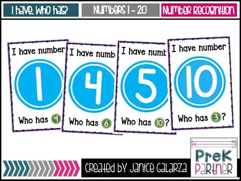 I have, Who has? Numbers 1 - 20