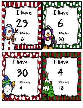 I have !! Who has ?? Numbers 1-30 Christmas Freebie