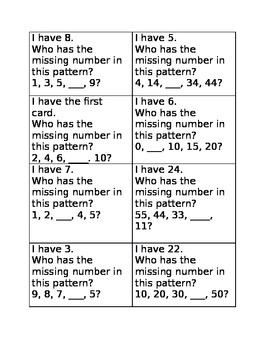 I have, Who has Patterns Game B