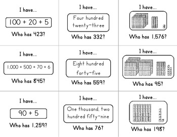 I have, Who has Place Value Game (focus:expanded and word form) by ...