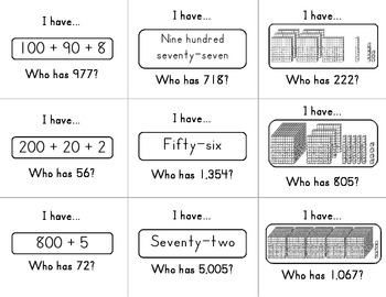 I have, Who has Place Value Game (focus:expanded and word form)