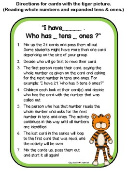 """I have... Who has...?""  Place Value 10s and 1s with Visuals"