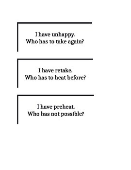 I have, Who has? Prefix/Suffix Game
