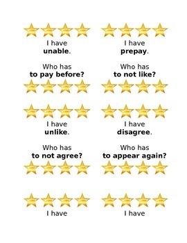 I have, Who has Prefixes