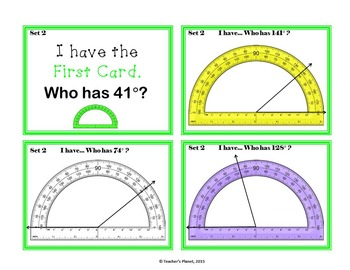 Protractor Games - I have..... Who has....? Protractors - Beginner and Advanced